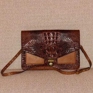 BRAHMIN Croc Embossed Leather Crossbody Purse